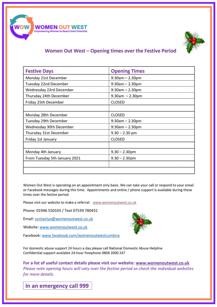 Christmas opening hours Women Out West Cumbria 2020